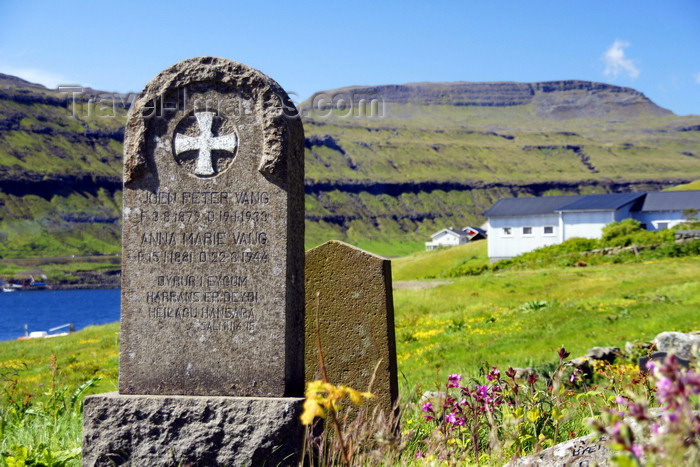 faeroe114: Kaldbak, Streymoy island, Faroes: grave stone in Kaldbak cemetery - Vang family - photo by A.Ferrari - (c) Travel-Images.com - Stock Photography agency - Image Bank