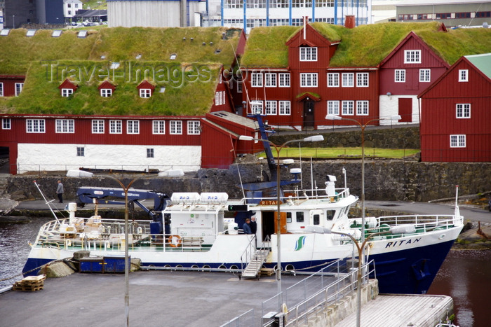 faeroe119: Tórshavn, Streymoy island, Faroes: ferry M/F Ritan in the east harbour ready to go to Nólsoy - government buildings in Tinganes in the background - red buildings with green sod roofs - photo by A.Ferrari - (c) Travel-Images.com - Stock Photography agency - Image Bank