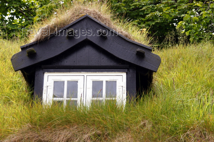 faeroe129: Tórshavn, Streymoy island, Faroes: roof window of a Faroese house - green roof using sod on top of several layers of birch bark - photo by A.Ferrari - (c) Travel-Images.com - Stock Photography agency - Image Bank