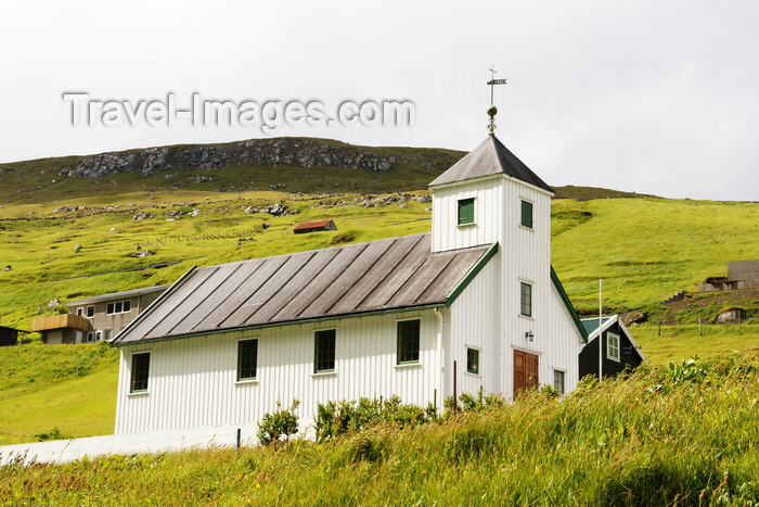 faeroe27: Elduvik village, Eysturoy island, Faroes: wooden church and green landscape - photo by A.Ferrari - (c) Travel-Images.com - Stock Photography agency - Image Bank