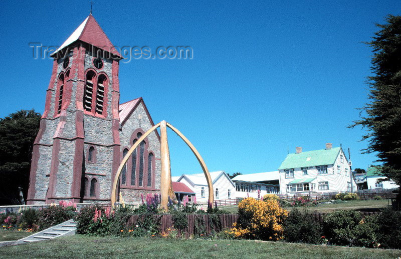 falkland2: Falkland islands / Ilhas Malvinas - Stanley, formerly Port Stanley / PSY (East Falkland / Isla Soledad):  Christ Church Cathedral with whale bone arch - the southernmost Anglican church - photo by Rod Eime - (c) Travel-Images.com - Stock Photography agency - Image Bank