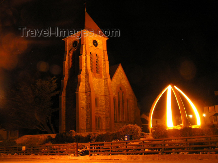 falkland57: Falkland islands / Ilhas Malvinas - East Falkland: Stanley / Puerto Argentino - Anglican Cathedral and whale bones at night - photo by Captain Peter - (c) Travel-Images.com - Stock Photography agency - Image Bank