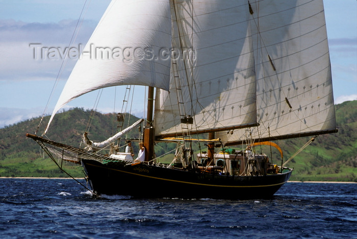 fiji13: Yasawa Islands, Fiji: the 106 ft Dutch built double masted schooner La Violante at sail near the coast - sailing ship - photo by C.Lovell - (c) Travel-Images.com - Stock Photography agency - Image Bank