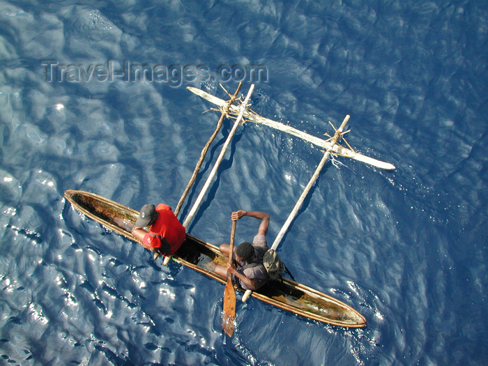fiji30: Denarau Island, Viti Levu, Fiji: outrigger canoe in the ocean - seen from above - photo by B.Cain - (c) Travel-Images.com - Stock Photography agency - Image Bank