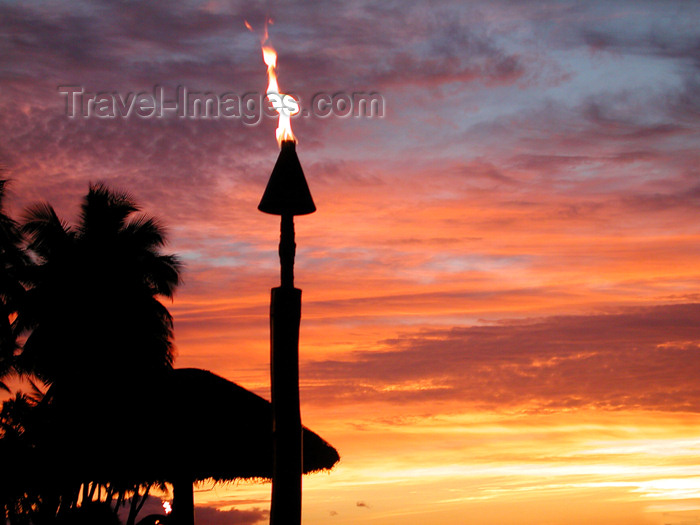 fiji31: Fiji Torch at Sunset, Denarau Island - (c) Travel-Images.com - Stock Photography agency - Image Bank