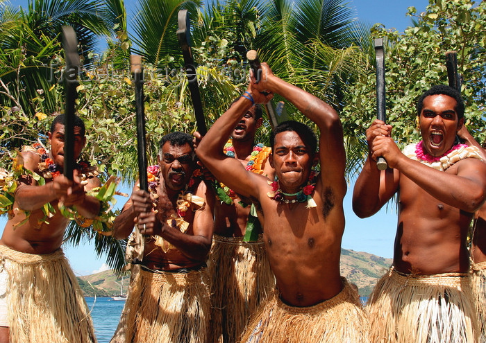 fiji37: Rabi Island, Vanua Levu Group, Northern division, Fiji: warriors - scary welcome ceremony - photo by R.Eime - (c) Travel-Images.com - Stock Photography agency - Image Bank