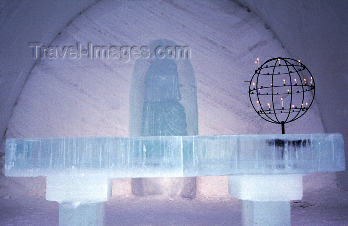 fin102: Finland - Lapland - Kemi - snow church - altar - Arctic images by F.Rigaud - (c) Travel-Images.com - Stock Photography agency - Image Bank