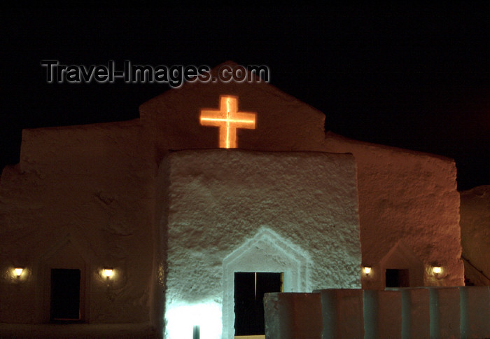 fin105: Finland - Lapland - Kemi - snow church - nocturnal - Arctic images by F.Rigaud - (c) Travel-Images.com - Stock Photography agency - Image Bank