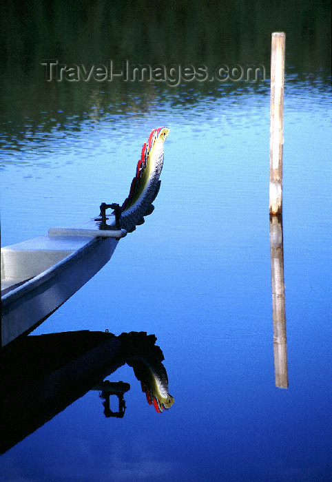 fin120: Finland - Tahko / Tahkovuori - Eastern Finland province - Northern Savonia region: dragon boat - prow - reflection (photo by F.Rigaud) - (c) Travel-Images.com - Stock Photography agency - Image Bank