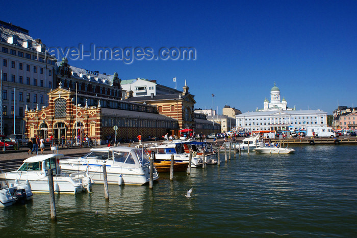 fin163: Helsinki, Finland: Market hall / Vanha kauppahalli, port, City hall and the Cathedral - photo by A.Ferrari - (c) Travel-Images.com - Stock Photography agency - Image Bank