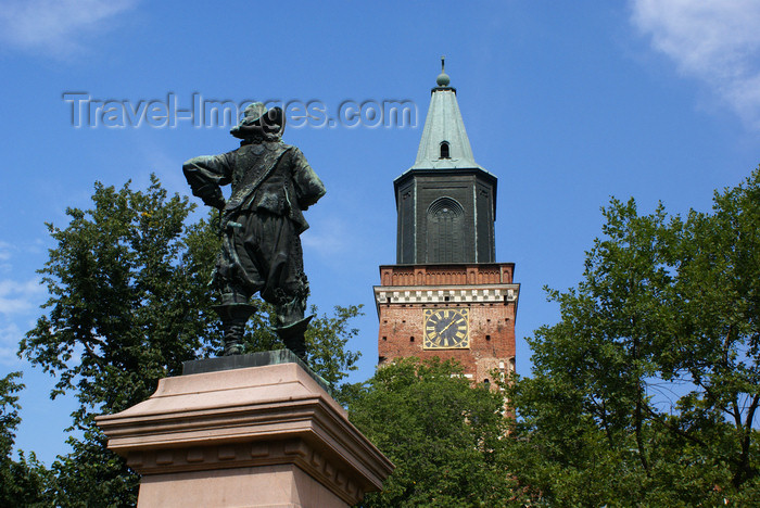fin181: Turku, Western Finland province - Finland Proper region / Varsinais-Suomi - Finland: Evangelical Lutheran cathedral - statue and clock tower - photo by A.Ferrari - (c) Travel-Images.com - Stock Photography agency - Image Bank