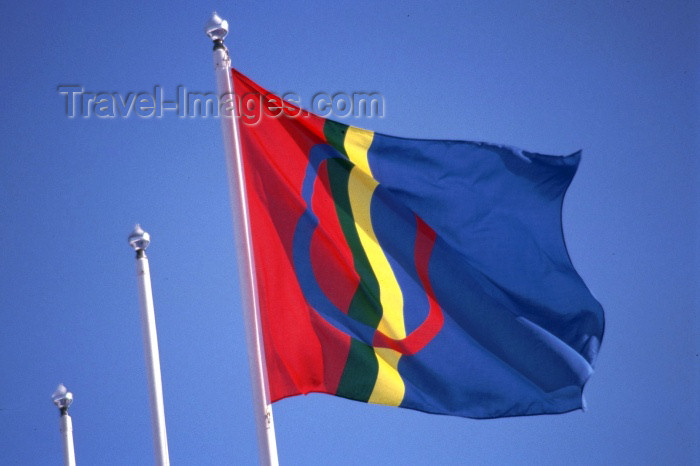 fin44: Finland - Lapland / Lappi: Lap / Sami flag (photo by F.Rigaud) - (c) Travel-Images.com - Stock Photography agency - Image Bank