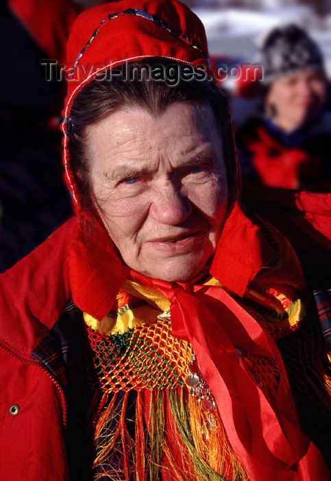 fin91: Finland - Lapland - Ivalo - Sami woman in traditional atire - Arctic images by F.Rigaud - (c) Travel-Images.com - Stock Photography agency - Image Bank