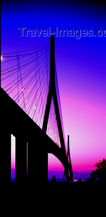 france1117: Le Havre, Seine-Maritime, Haute-Normandie, France: Normandy Bridge at dusk - silhouette - photo by A.Bartel - (c) Travel-Images.com - Stock Photography agency - Image Bank