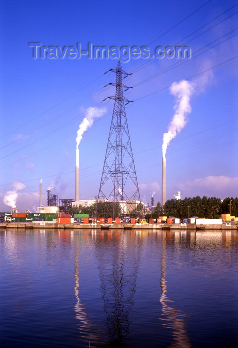 france1123: Le Havre, Seine-Maritime, Haute-Normandie, France: Paint Chemical Industry - smoke stacks and electrical pylon - photo by A.Bartel - (c) Travel-Images.com - Stock Photography agency - Image Bank