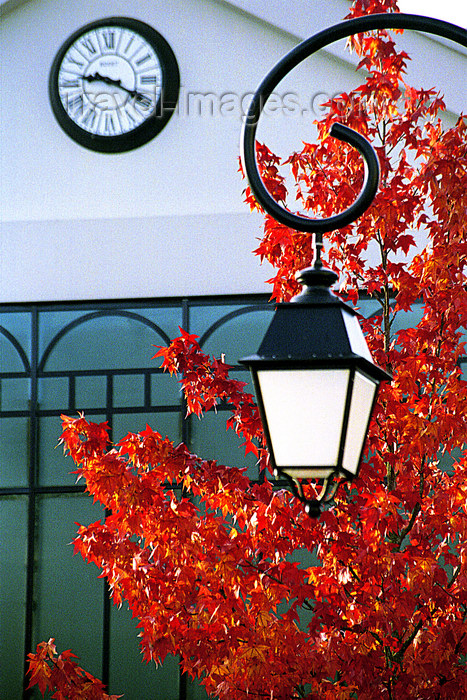 france1151: La Varenne, Val-de-Marne, Ile-de-France: clock, lamp and red leaves - photo by Y.Baby - (c) Travel-Images.com - Stock Photography agency - Image Bank
