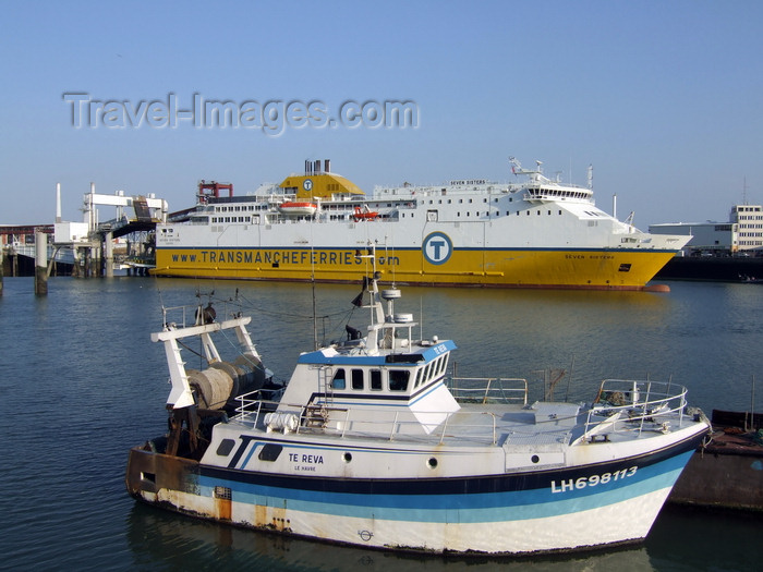 france1236: Le Havre, Seine-Maritime, Haute-Normandie, France: Transmanche Seven Sisters Cross Channel Ferry, Fishing Boat - Normandy - photo by A.Bartel - (c) Travel-Images.com - Stock Photography agency - Image Bank