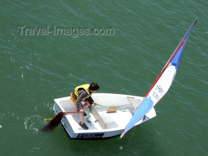 france1243: Le Havre, Seine-Maritime, Haute-Normandie, France: Dinghy Sailing - young boy - photo by A.Bartel - (c) Travel-Images.com - Stock Photography agency - Image Bank