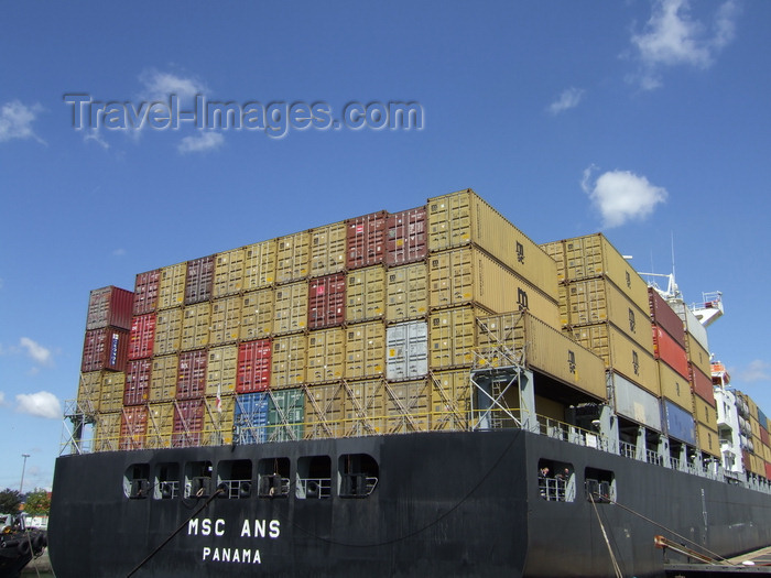 france1263: Le Havre, Seine-Maritime, Haute-Normandie, France: stern of the MSC Ans Container Ship - photo by A.Bartel - (c) Travel-Images.com - Stock Photography agency - Image Bank