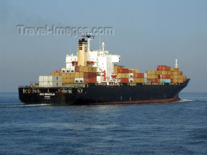 france1274: Le Havre, Seine-Maritime, Haute-Normandie, France: MSC Brasilia Container Ship leaving the port - photo by A.Bartel - (c) Travel-Images.com - Stock Photography agency - Image Bank