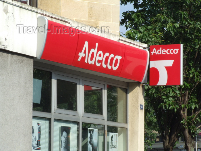 france1279: Le Havre, Seine-Maritime, Haute-Normandie, France: sign at Adecco, Employment Agency - photo by A.Bartel - (c) Travel-Images.com - Stock Photography agency - Image Bank