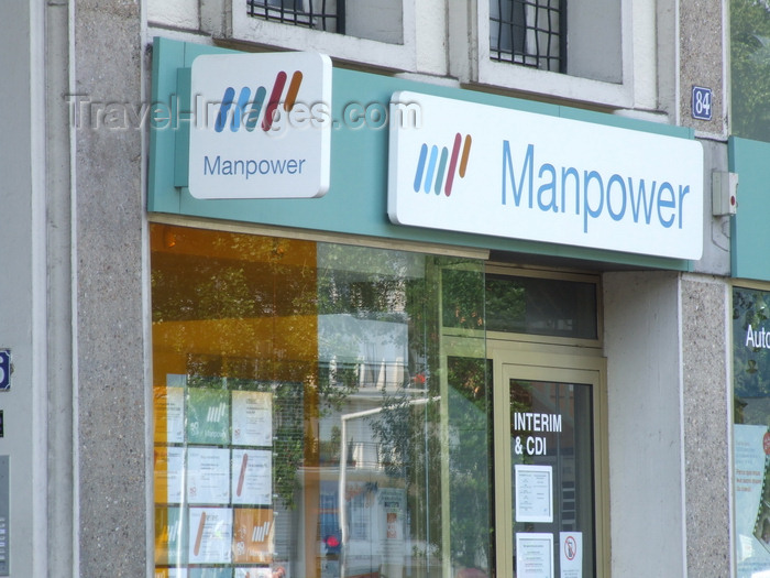 france1280: Le Havre, Seine-Maritime, Haute-Normandie, France: sign at Manpower, Employment Agency - photo by A.Bartel - (c) Travel-Images.com - Stock Photography agency - Image Bank