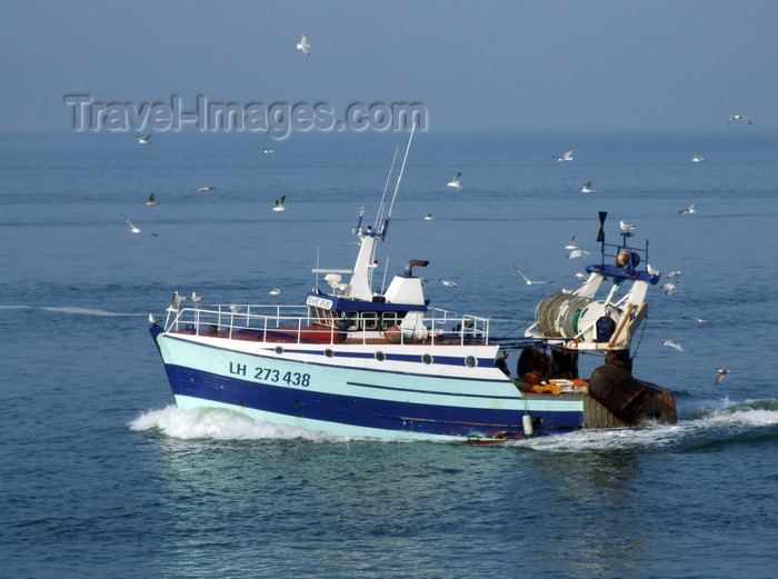 france1283: Le Havre, Seine-Maritime, Haute-Normandie, France: small fishing boat and seagulls - photo by A.Bartel - (c) Travel-Images.com - Stock Photography agency - Image Bank