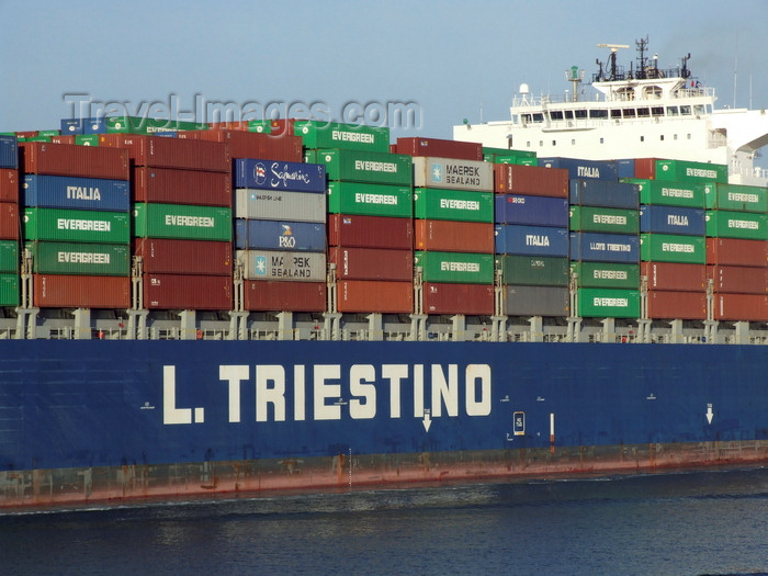 france1298: Le Havre, Seine-Maritime, Haute-Normandie, France: Container Ship LT Cortesia - mid hull section - L.Triestino line - Normandy - photo by A.Bartel - (c) Travel-Images.com - Stock Photography agency - Image Bank