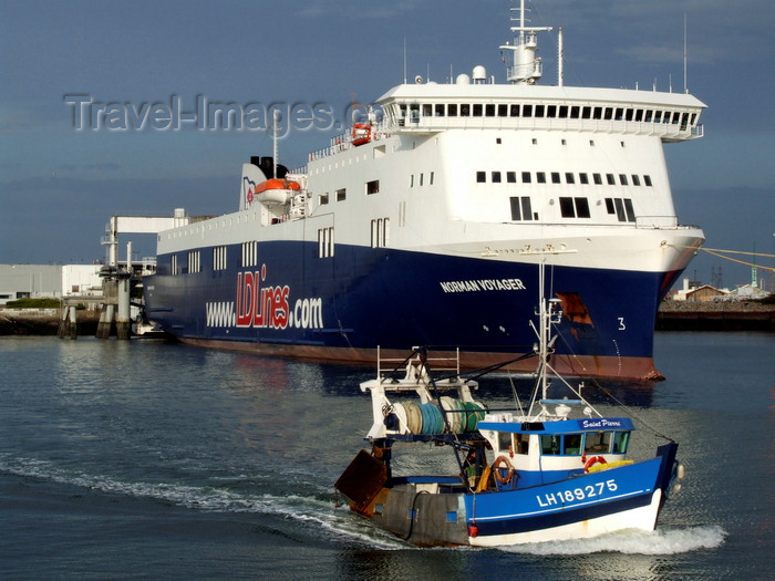 france1313: Le Havre, Seine-Maritime, Haute-Normandie, France: Norman Voyager, LD lines, Channel Ferry and fishing boat - photo by A.Bartel - (c) Travel-Images.com - Stock Photography agency - Image Bank