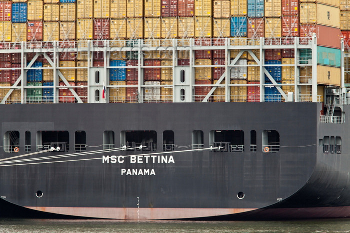 france1332: Le Havre, Seine-Maritime, Haute-Normandie, France: stern of the MSC Bettina Container Ship - photo by A.Bartel - (c) Travel-Images.com - Stock Photography agency - Image Bank