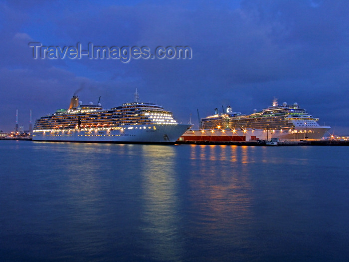 france1338: Le Havre, Seine-Maritime, Haute-Normandie, France: Cruise Ships at dusk - P+O Arcadia and Celebriy Eclipse - photo by A.Bartel - (c) Travel-Images.com - Stock Photography agency - Image Bank