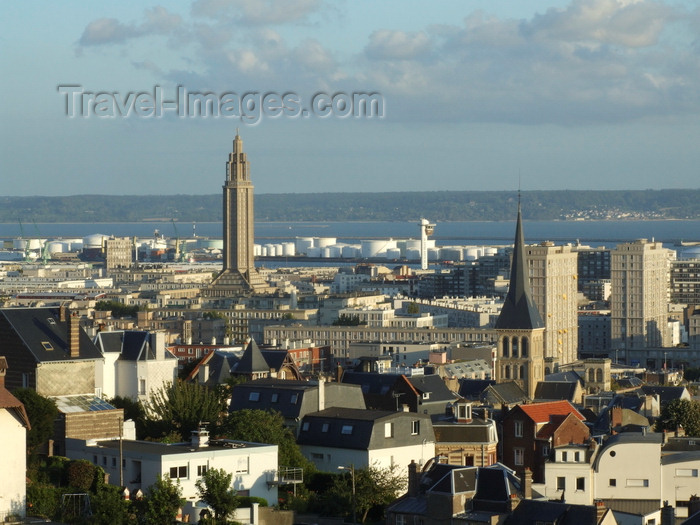 france1355: Le Havre, Seine-Maritime, Haute-Normandie, France: the city and the port - spires and oil tanks - photo by A.Bartel - (c) Travel-Images.com - Stock Photography agency - Image Bank