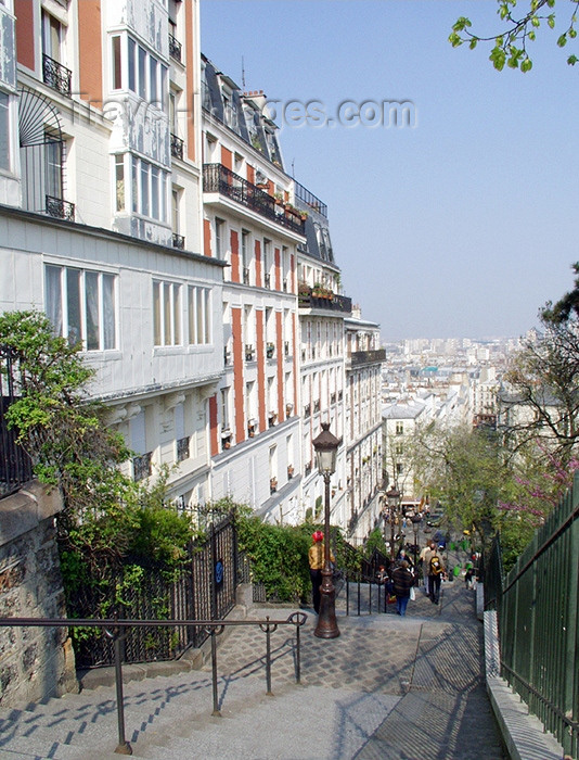 france136: France - Paris: Montmartre - Parisian stairs - photo by K.White - (c) Travel-Images.com - Stock Photography agency - Image Bank