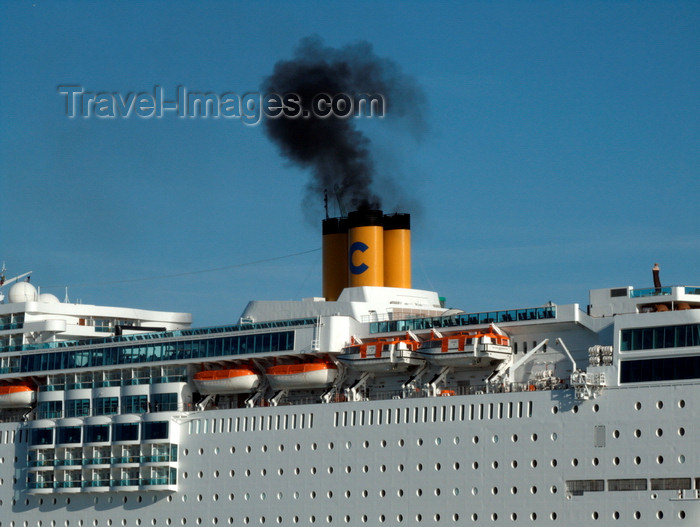 france1368: Le Havre, Seine-Maritime, Haute-Normandie, France: Diesel Fumes, Costa Romantica Cruise Ship - Normandy - photo by A.Bartel - (c) Travel-Images.com - Stock Photography agency - Image Bank