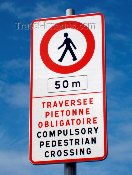 france1370: Le Havre, Seine-Maritime, Haute-Normandie, France: Bilingual 'No Pedestrians' sign, English, French - Compulsory Pedestrian Crossing sign - photo by A.Bartel - (c) Travel-Images.com - Stock Photography agency - Image Bank