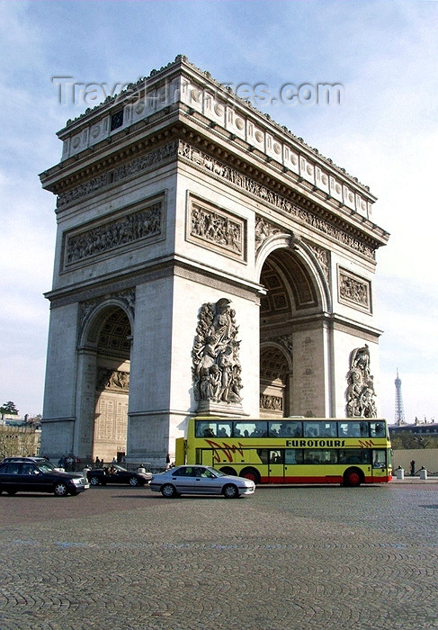 france138: France - Paris: Arc de Triomphe - side view - Axe historique - commissioned in 1806 after the victory at Austerlitz by Napoleon Bonaparte - photo by K.White - (c) Travel-Images.com - Stock Photography agency - Image Bank