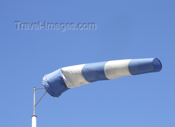 france1392: Haute-Normandie, France: white and blue windsock - manche à air - photo by A.Bartel - (c) Travel-Images.com - Stock Photography agency - Image Bank