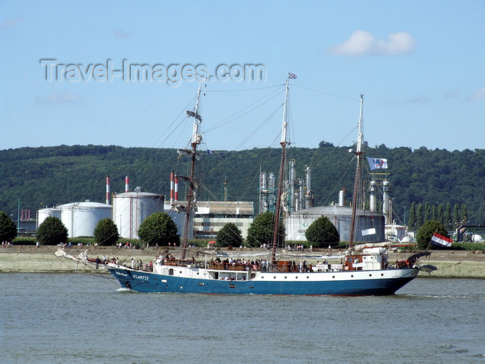 france1394: Port-Jérome, Notre-Dame-de-Gravenchon, Seine-Maritime, Haute-Normandie, France: sailing ship Atlantis and ethanol plant - photo by A.Bartel - (c) Travel-Images.com - Stock Photography agency - Image Bank