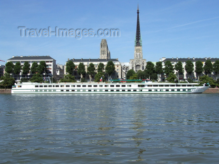 france1402: Rouen, Seine-Maritime, Haute-Normandie, France: Seine Princess River Cruise Ship and Rouen Cathedral - Upper Normandy - photo by A.Bartel - (c) Travel-Images.com - Stock Photography agency - Image Bank