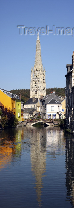 france1412: Harfleur, Seine-Maritime, Haute-Normandie, France: church of St-Martin, dating from the fourteenth century – water reflection - river Lézarde - photo by A.Bartel - (c) Travel-Images.com - Stock Photography agency - Image Bank