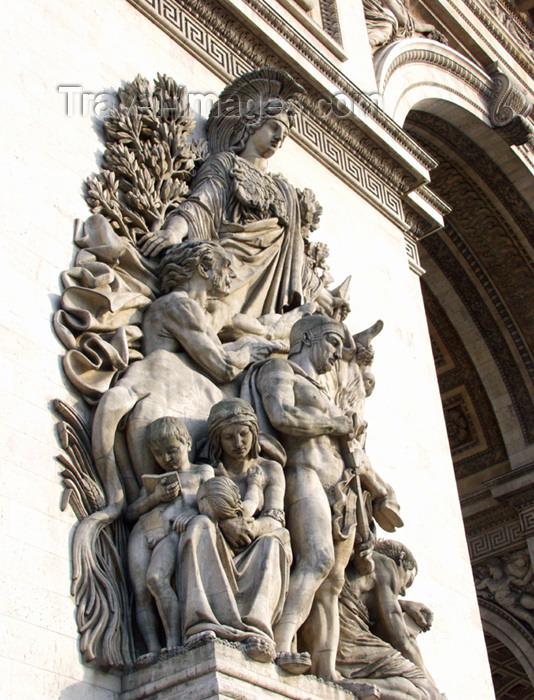 france142: Paris, France: Arc de Triomphe - the people - place de l'Étoile - bas-relief  'La Paix de 1815' by Antoine Etex - photo by K.White - (c) Travel-Images.com - Stock Photography agency - Image Bank