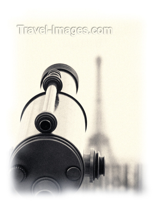 france148: France - Paris: Eiffel Tower and telescope - B&W - photo by K.White - (c) Travel-Images.com - Stock Photography agency - Image Bank