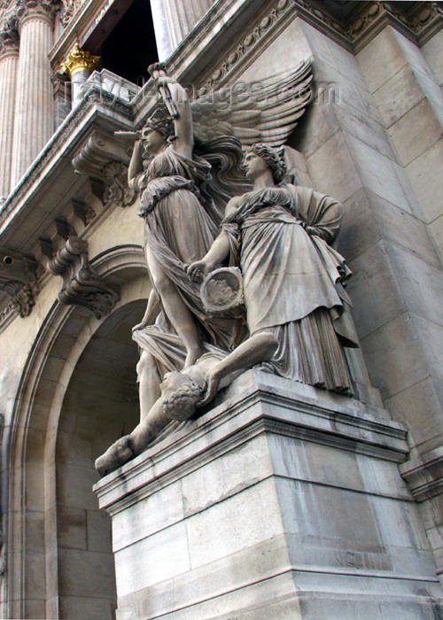 france171: France - Paris: L'Opéra Garnier - statues representing Lyrical drama - sculptor Jean-Joseph Perraud - IXeme - photo by K.White - (c) Travel-Images.com - Stock Photography agency - Image Bank