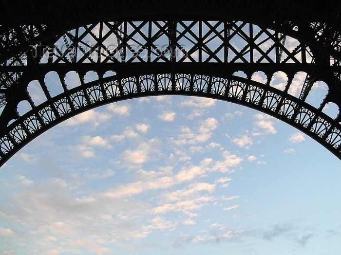 france268: France - Paris: Parisian sky and arch of the Eiffel Tower - photo by J.Kaman - (c) Travel-Images.com - Stock Photography agency - Image Bank