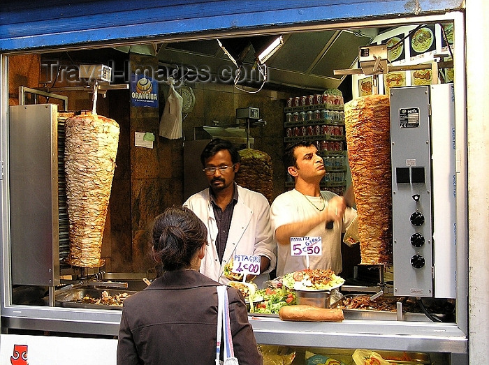 france272: France - Paris: Gyros vendor in the Greek Quarter - kebabs - pita - photo by J.Kaman - (c) Travel-Images.com - Stock Photography agency - Image Bank