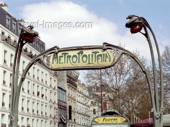 france303: France - Paris: Metropolitain - Hector Guimard Arch - Line 2, Anvers station - Art Nouveau - Metro - subway - photo by M.Bergsma - (c) Travel-Images.com - Stock Photography agency - Image Bank
