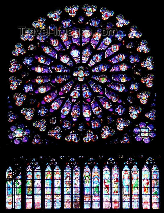 france316: France - Paris: Notre Dame - stained glass - rose-window / rosace - photo by A.Caudron - (c) Travel-Images.com - Stock Photography agency - Image Bank