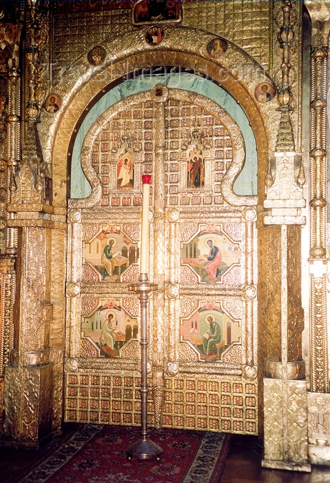 france43: France - Nice  (Alpes Maritimes - Provence-Alpes-Cote d'Azur): gate on the  iconostasis - archangels Michael and Raphel, Cyril and Methodius, apostles of the Slavs - Russian Orthodox Cathedral of St Nicholas - golden gate - Boulevard du Tsarewich - photo by M.Torres - (c) Travel-Images.com - Stock Photography agency - Image Bank