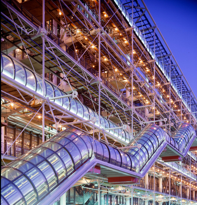 france477: Paris, France: Centre Georges Pompidou at night - architects Richard Rogers, Renzo Piano - structural engineer Edmund Happold - Beaubourg area - photo by A.Bartel - (c) Travel-Images.com - Stock Photography agency - Image Bank