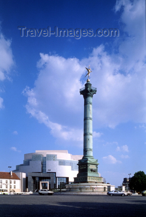 france482: Paris, France: New Opera House and the Colonne de Juillet - Place de la Bastille - 12th arrondissement - photo by A.Bartel - (c) Travel-Images.com - Stock Photography agency - Image Bank